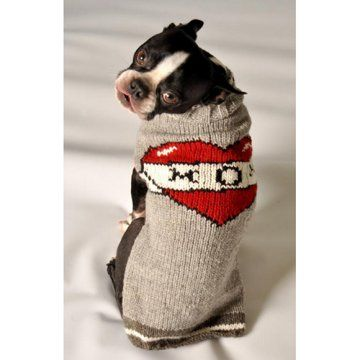 "this has ""Sarge"" all over it! Chilly Dog Tattooed Mom Dog Sweater - Gray / Red"