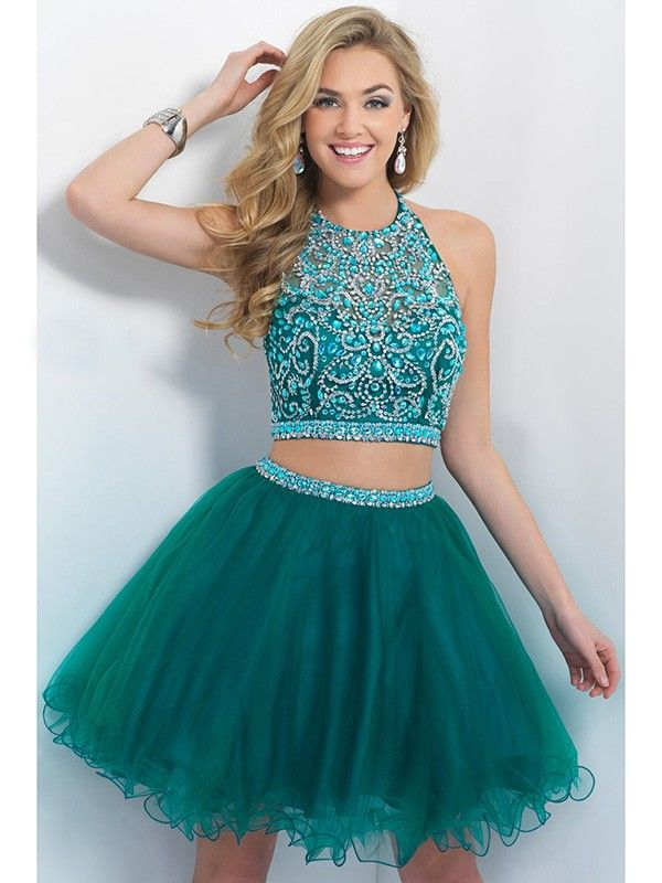 A-Line/Princess Scoop Sleeveless Beading Short/Mini Tulle Dresses