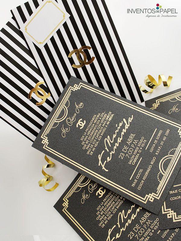 Inspirados en la elegancia de tu gran día #cocochanel #invitaciones #dorado