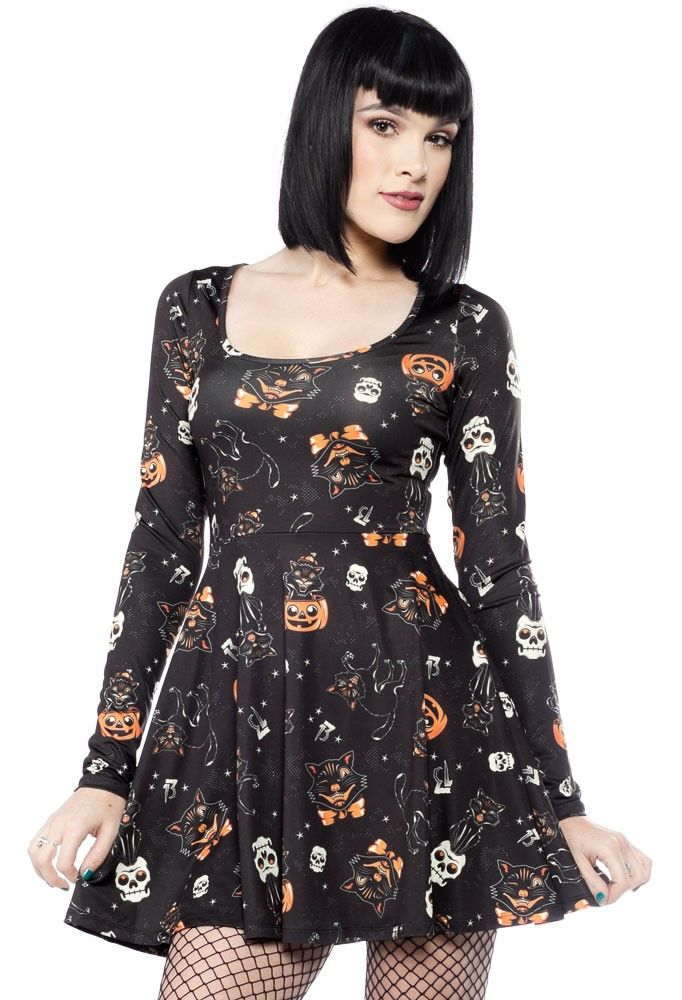 SOURPUSS BLACK CATS SKATER DRESS BLACK