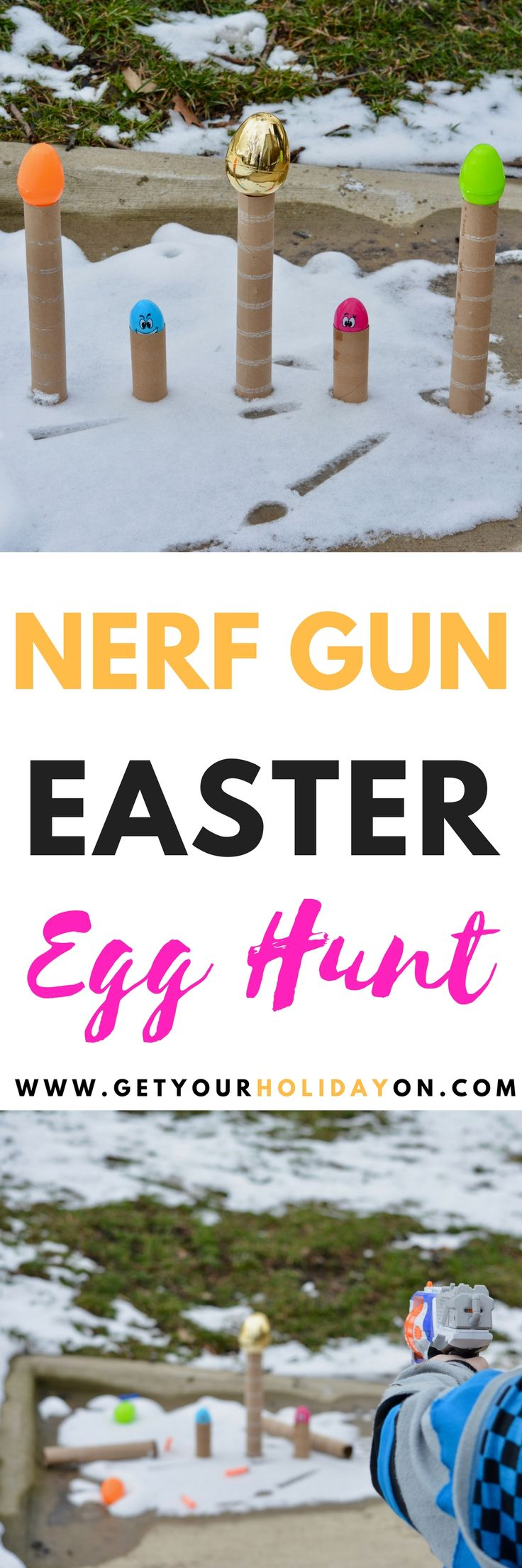 Nerf Gun Easter Egg Hunt | Point the gun at the eggs, shoot the darts, reload, and pull the trigger knocking down as many eggs as possible.#eastercrafts #momlife #easter #diyeaster