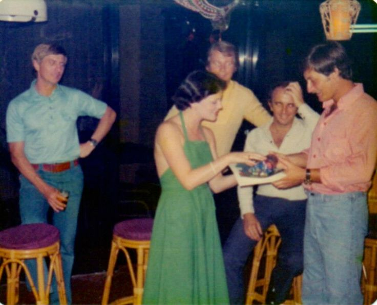 Qantas Crew party Singapore 1976 to farewell a Flight Steward who was on his last flight