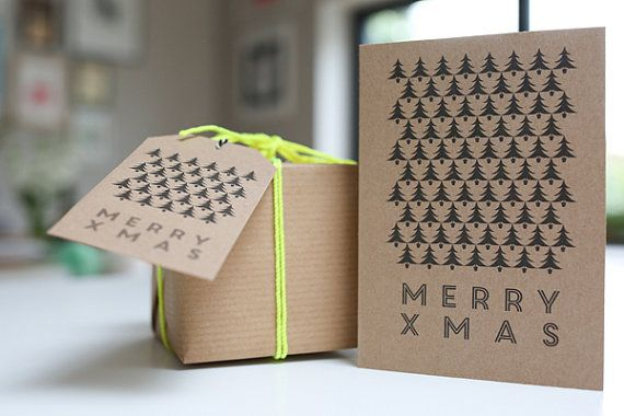 9 pack of Charity Christmas Cards - Graphic Christmas Tree designs on Brown Kraft @Lucy Kemp Clark