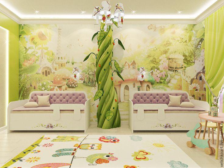 Купить Дизайн интерьера детской 1500р.кв.м. - зеленый, дизайн интерьера, дизайн дома