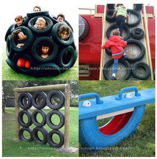 EL MUNDO DEL RECICLAJE: Juegos infantiles hechos con neumáticos reciclados