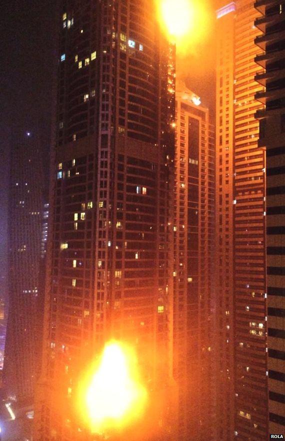 Torch skyscraper in Dubai on Fire
