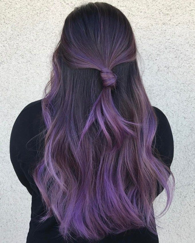Long Pastel Purple Balayage Hair