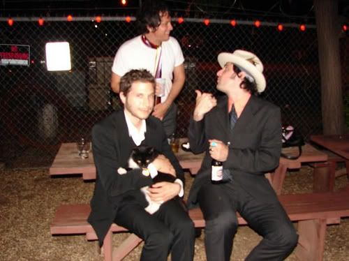 daniel kessler of interpol with his cat  - another reason to love this talented guy.