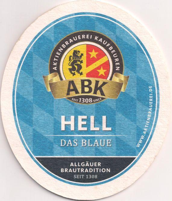 Rückseite: Bierdeckel-Europa-Mitteleuropa-Deutschland-Bayern-Schwaben-Kaufbeuren-Aktienbrauerei-Hell