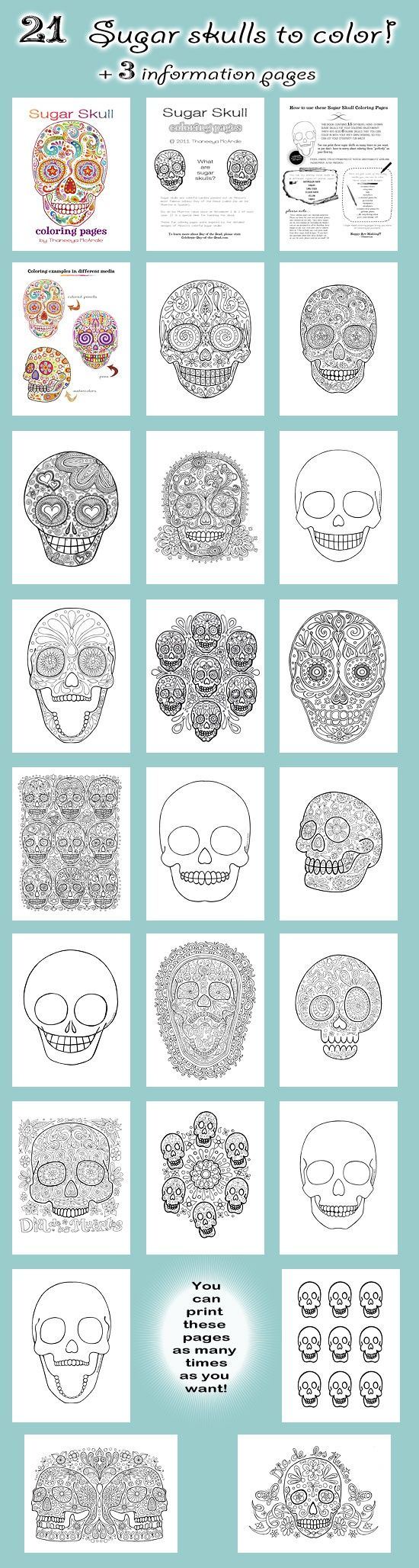 Gonna use these as templates for my new day of the dead paper mache skulls.