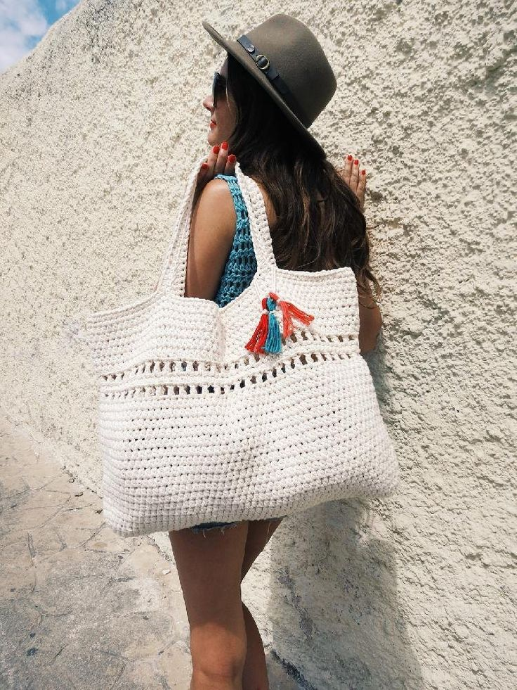 Just what you need for a full day's adventure on a hot summer day! Crochet beach bag - download the pattern from LoveCroche