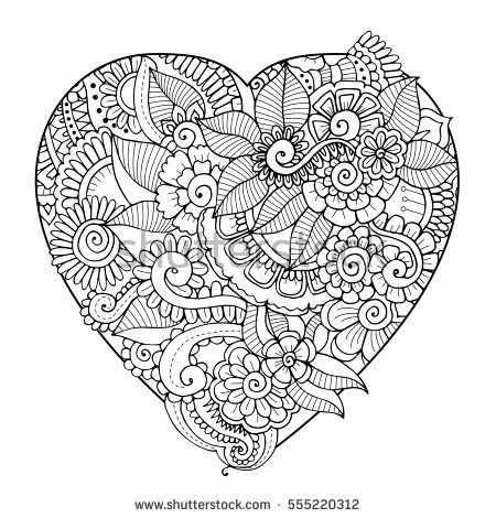 Zentangle floral heart black and white vector adult