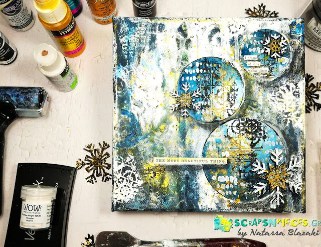 Scraps N Pieces - the Blog: Winter Canvas με Video Tutorial από την Dt coordinator
