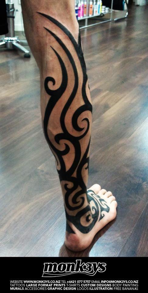 Maori, tribal leg 2 by Monk3ys-Tattoos
