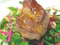 Rainbow Chard salad with pan fried lamb