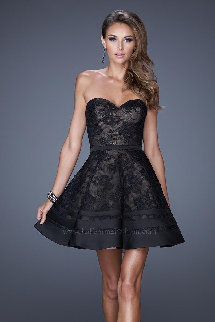 2015 Elegant La Femme 20562 Black/Nude Short Prom Dresses with a Belt