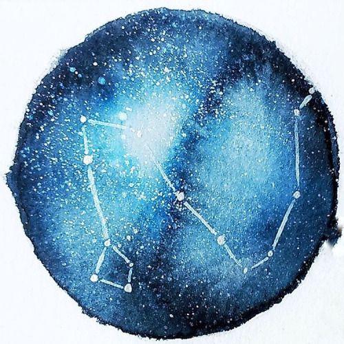 #Constelação do #Dragão … #Draco #Constellation #Galaxy #Galáxia #Watercolor #Aquarela #Schmincke #Akademie #Coliro #GoldPalette #Ecoline #Stars #Estrelas #Sky #Céu #Ilustração #Illustration