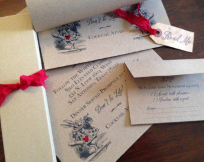 Alicia en el país de las maravillas de invitación de boda - invitación de la boda de desplazamiento - forrado de musgo presentación caja - dirigida - lista de correo