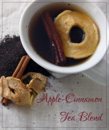 Apple-Cinnamon Tea Mix  Ingredients per serving of tea:  1 tbsp. of your favorite black loose tea blend (or substitute 1 bag of tea if you don't want to use loose tea). If you're not a tea drinker, I suggest selecting a blend that has the word breakfast in it, like a British or Irish Breakfast tea. You can also select an Earl or Lady Grey.  1 slice of dried apple  1/2 of a cinnamon stick