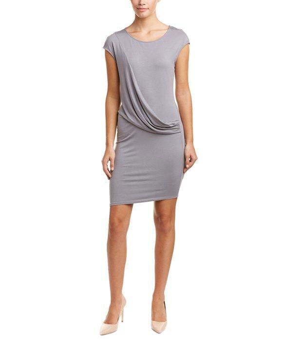Three Dots Drape-Front Sheath Dress
