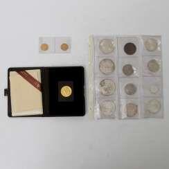 Kleines Konvolut Münzen und Medaillen mit GOLD und SILBER - dabei 1 x Kanada - 100 Dollars 1980, Eskimo im Kanu, ss., 1/2 Unze Gold fein,