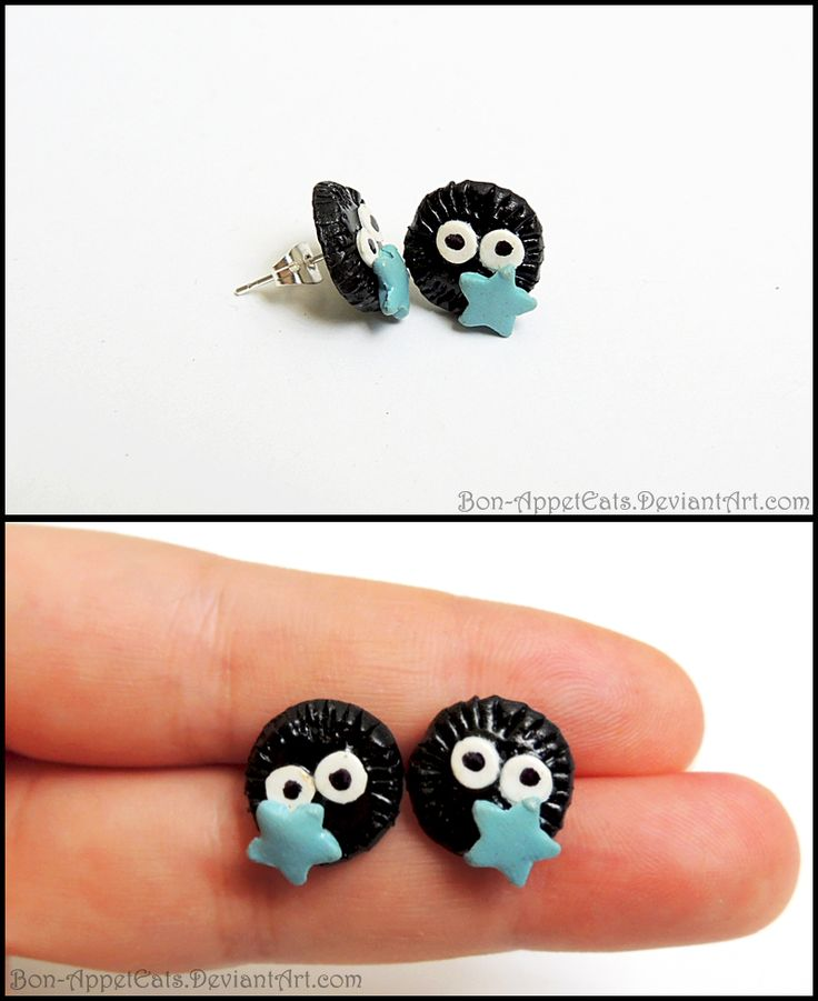 Soot Sprite Post Earrings by Bon-AppetEats.deviantart.com    Available at http://bon-appeteats.weebly.com/earrings.html: Clay Projects, Crafts Projects Ideas, Craftsproject Ideas, Pour Polymere, Bon Appeteats Deviantart Com, Clay Fimo, Posts Earrings, Polymer Clayyyi, Pâte Fimo