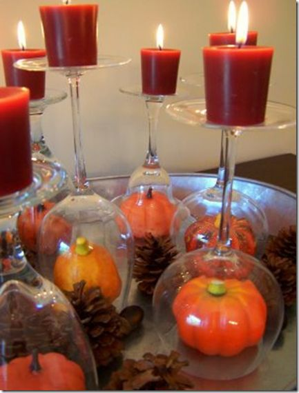 Fall decor.Decor Ideas, Fall Decor, Candles Holders, Fall Tables, Centerpieces, Wine Glasses, Thanksgiving Tables, Tables Decor, Wineglass