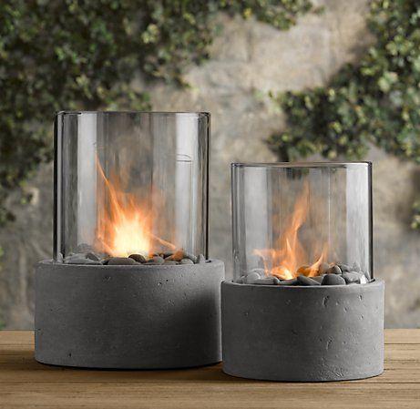 Best Glass Fire Pit Ideas On Pinterest Fire Glass Fire Pit - Concrete outdoor fireplace river rock fire bowl from restoration hardware