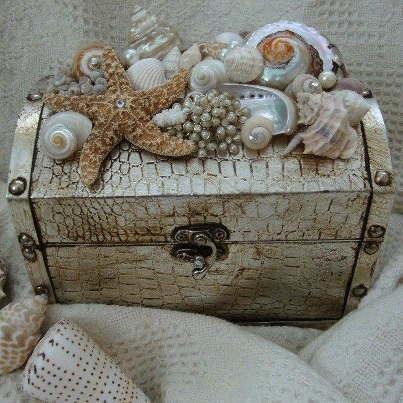 Seashells Chest,  oh i have the shells and the chest just need to find the perfect arangement and a place to put it too.