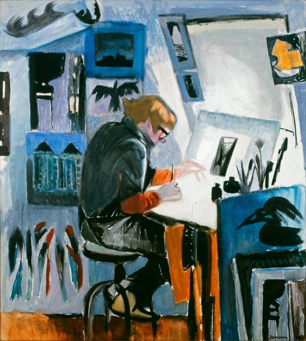 """The Graphic artist"". 1975. Tove Jansson painted a picture of her partner, graphic artist Tuulikki Pietilä (1917-2009). Pietilä lived and worked in the same block as Jansson for decades. In springs they prepared to leave for the island of Klovharu, which is located near Porvoo in Finland. In the autumn they always returned to Helsinki. Oil on canvas."