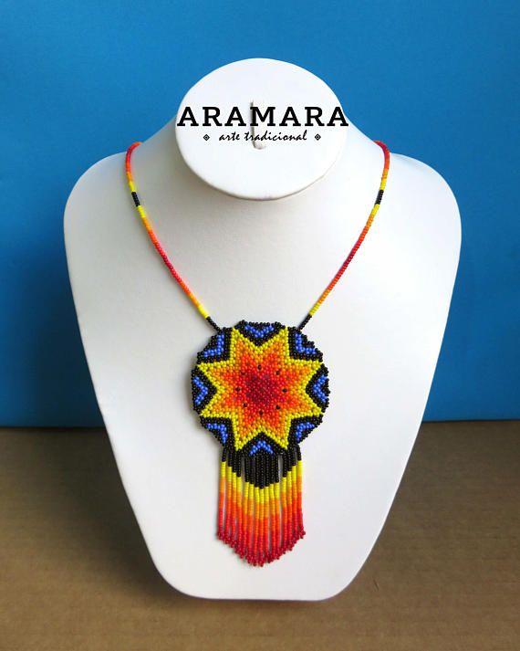 c2d4e3e0ef22c Mexican Necklace, Native American Necklace, Huichol necklace, Star ...