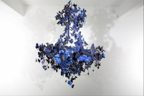Made of sapphire-blue solar panel cells, this chandelier is intrinsically self-sustaining, as it absorbs the energy of daylight to fuel its own illumination.: Lights, Blue Chandeliers, Solar Panels, Jeroen Verhoeven, Bulbs, Virtue, Design, Butterflies Chandeliers, Solar Energy