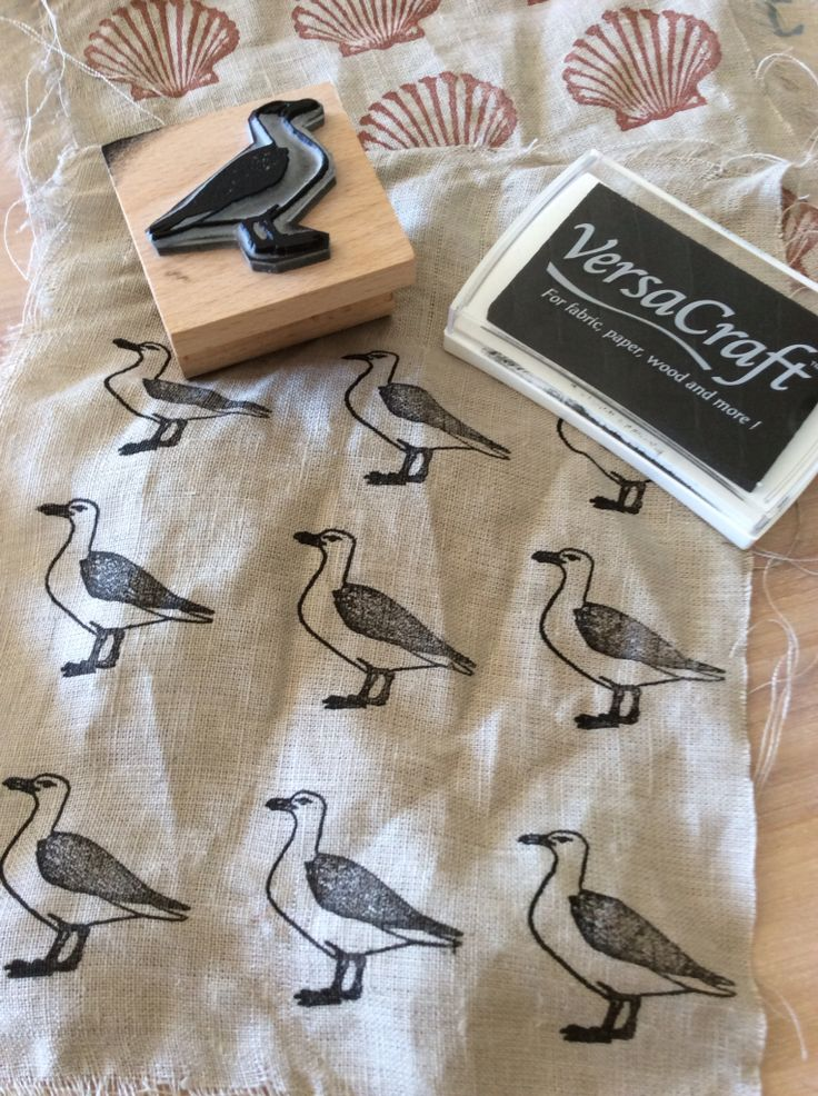Seagull stamping on fabric with our new range of VersaCraft ink pads                                                                                                                                                                                 More