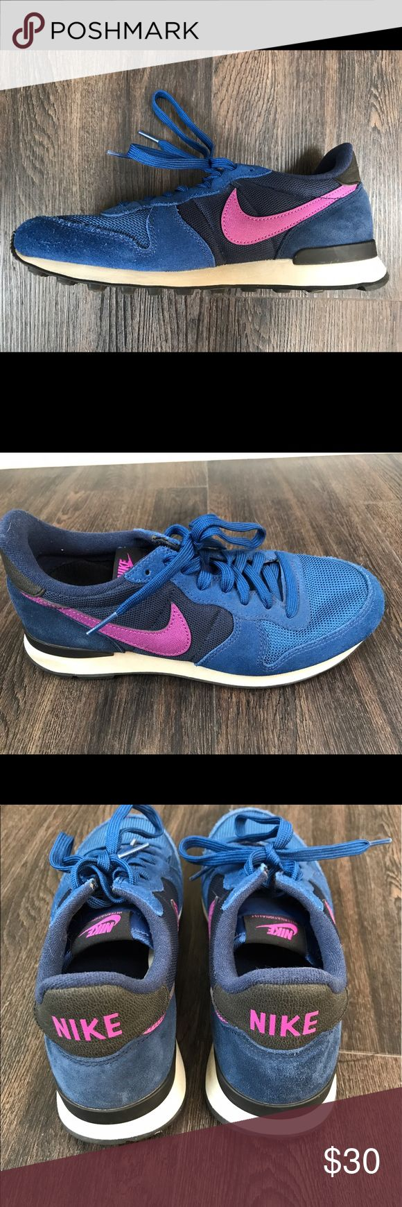 Nike retro sneakers Blue and pink Nike retro style sneakers. They have been worn several times but are in great condition. I do not have the box. Nike Shoes Athletic Shoes