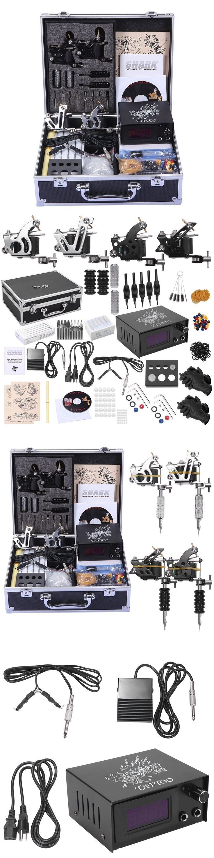 Tattoo Complete Kits: Shark Professional Tattoo Kit 4 Machines Gun Carry Case Key Power Supply New -> BUY IT NOW ONLY: $77.56 on eBay!