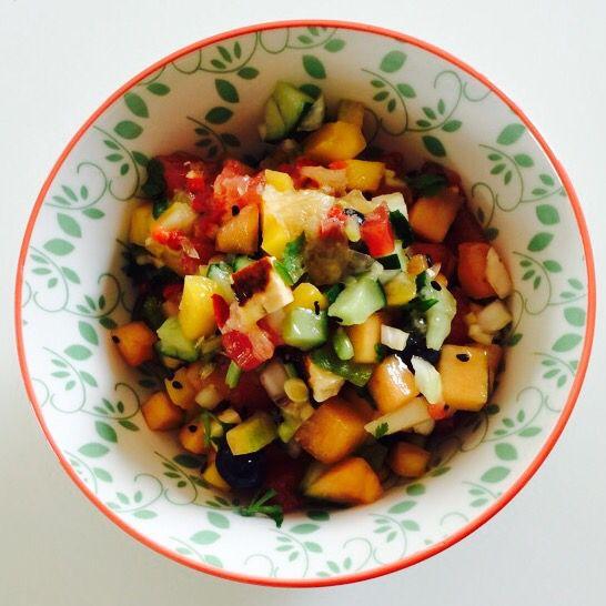 Spicy Fruit'n Cheese Salad - fried haloumi cheese, cucumber, onion, coriander, black sesame, watermelon, rock melon, mango, blueberries, lemon juice and chili powder...