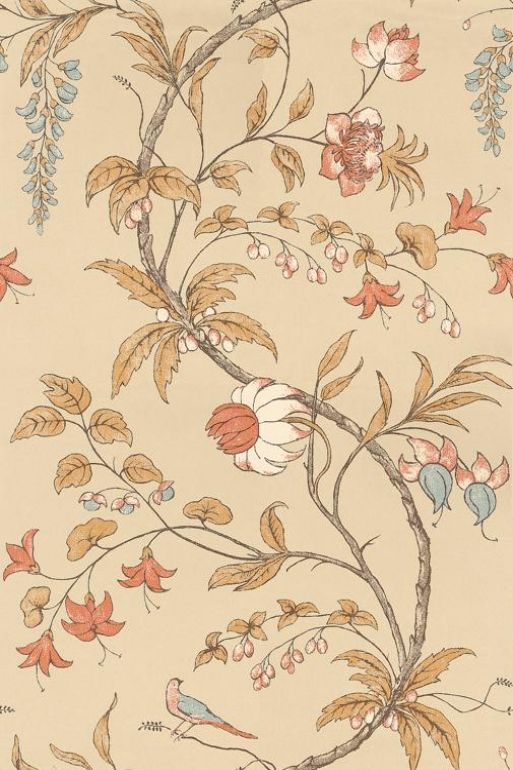 Chambalon (TRA02003) - Zoffany Wallpapers - Based on a hand printed 18th c wall-hanging this simplistic bird and floral tree design is rotary screen printed.  Available in 4 colourways, shown in the russet and gold with blue detail version. Please ask for sample for true colour match.
