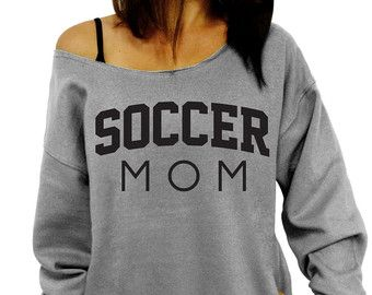 Soccer Mom  Pink Slouchy Oversized Sweatshirt  by DentzDesign
