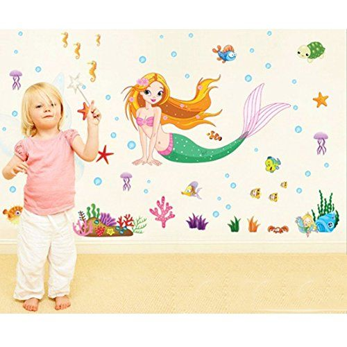 Wall Sticker Mermaid Fishes Sea Shark Squid Crab Paper Home Decal Removable Wall Vinyl Living Room Bedroom PVC Art Picture Murals DIY Stick for Adults Teems Kids Nursery Baby >>> Click image to review more details.