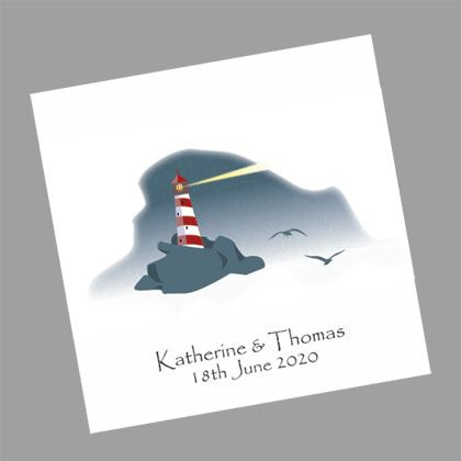 These nautical wedding invitations show a picture of two birds flying to a safe haven on a stormy night. www.kardella.com