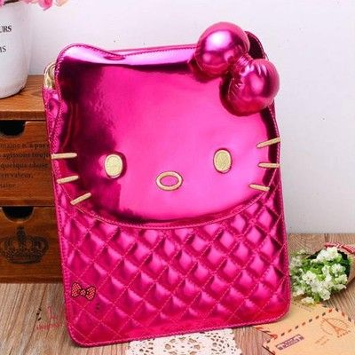 Hot Pink hello kitty leather bowknot protective case for i Pad 2/3/4 new i Pad