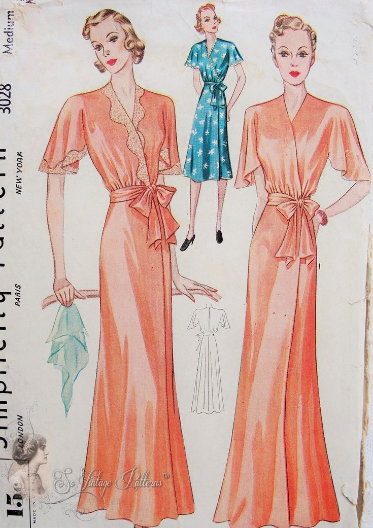 1930s Beautiful Negligee or Housedress Robe Pattern Bias Cut Side Wrap Hostess Gown Cape Sleeves Simplicity 3028 Vintage Sewing Pattern Medium size   http://www.sovintagepatterns.com/1930s-Beautiful-Negligee-or-Housedress-Robe-Pattern-Bias-Cut-Side-Wrap-Hostess-Gown-Cape-Sleeves-Simplicity-3028-Vintage-Sewing-Pattern-Medium-size_p_5489.html