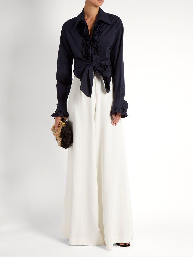 Ruffle-trimmed cotton-poplin blouse | Bonnie Young | MATCHESFASHION.COM AU