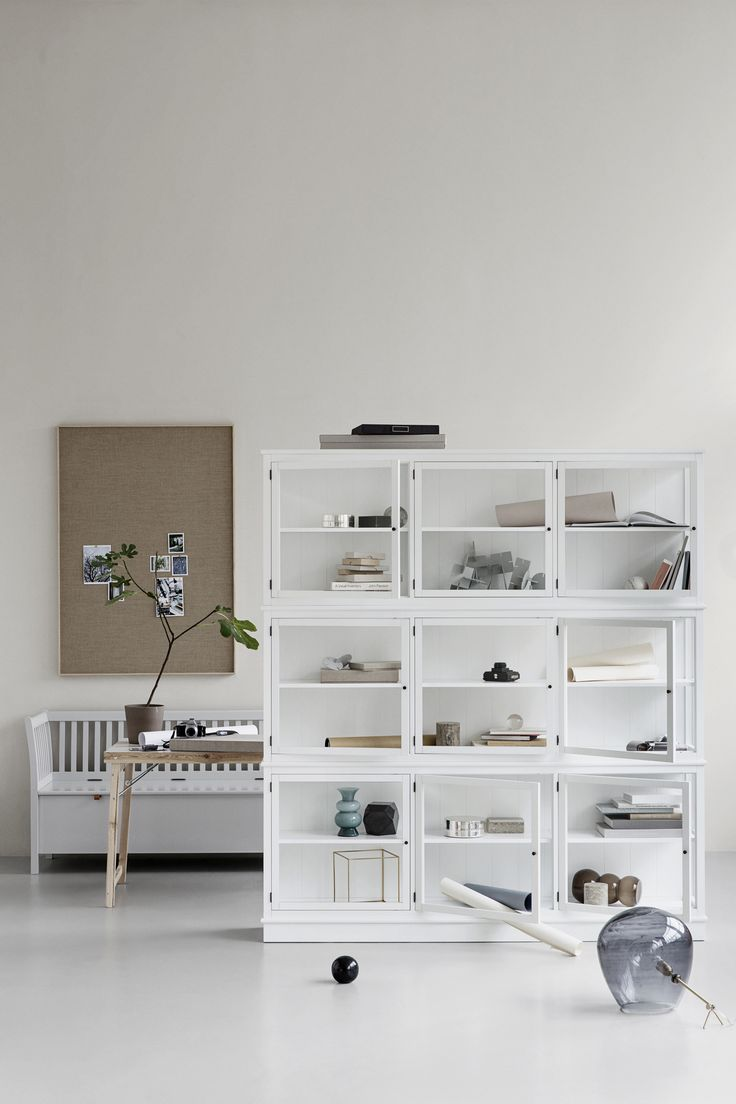 Seaside Collection bench large in grey and glass cabinet by Oliver Furniture.