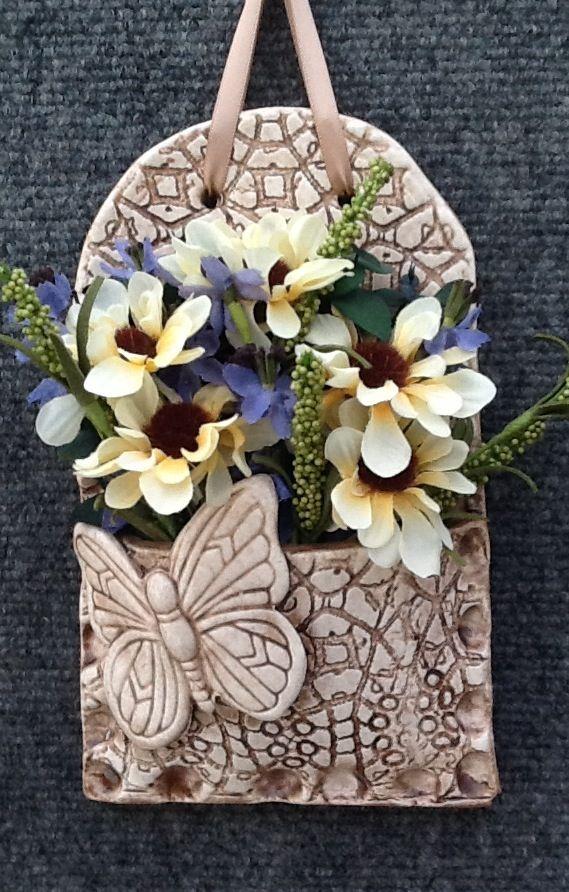 """Pretty Pottery"". Wall pocket by designer/craftsman Trudi Clark"