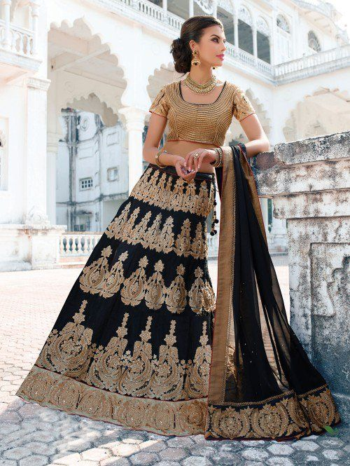 Black Art Silk  Lehenga Choli with Resham Embroidery Work