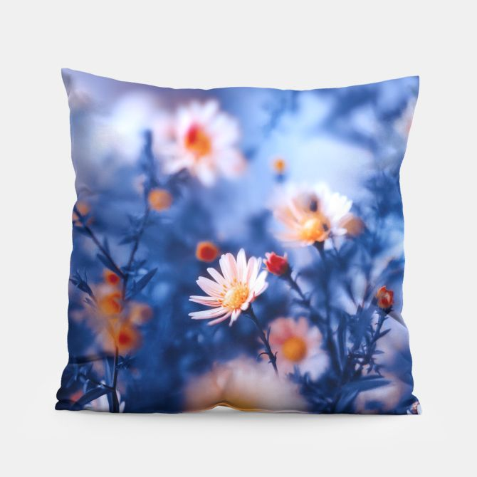 Orange Flower On Blue Pillow, Live Heroes