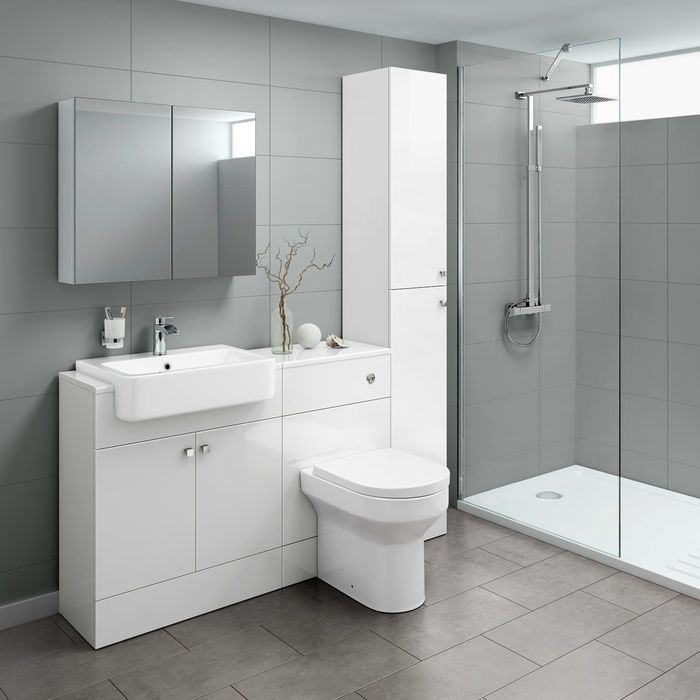 1500mm Harper Gloss White Combined Vanity Unit Tall Unit Cesar