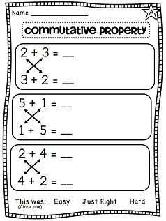 Commutative property of addition differentiated worksheets