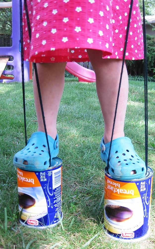 DIY Kids Crafts for Outdoors Fun - DIY Upcycled Can Stilts - DIY Projects & Crafts by DIY JOY at http://diyjoy.com/fun-outdoor-crafts-for-kids